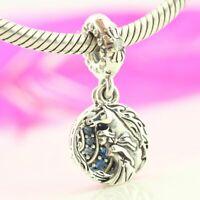 authentic 925 Sterling Silver Elsa And Nokk Dangle Charm Bue CZ For Bracelet