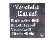 XL Shabby Vintage Schild Türschild VORSICHT KATZE Warnschild Holzschild Kater