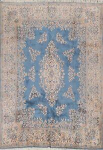 Vintage Vegetable Dye Kirman Hand-knotted Floral Area Rug Wool Oriental 8'x10'