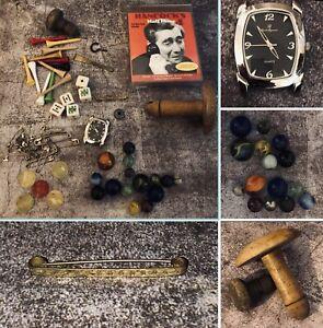 Antique & Vintage Job Lot Curio Draw Find Toys Marbles Watch Hancock Half Hour
