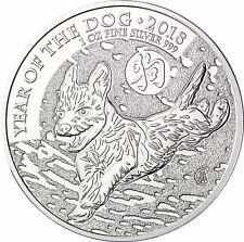 1 OZ Lunar CANE ARGENTO moneta Gran Bretagna 2 sterline 2018 ANNO del CANE ARGENTO