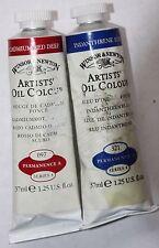 2 Vintage Winsor & Newton Oil Paint~Cad Red Deep & Indantherene Blue-37ml~Ser4