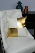 Gold White Accent Decorative leather pillow throw case cover cushion couch