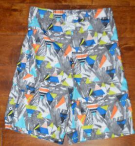 Boy's Joe Boxer Gray Blue Orange Geo Slip On Swim Shorts Size L (14-16)