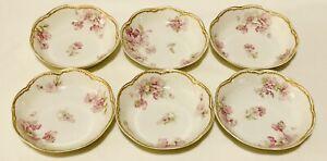 """Set 6-Haviland Limoges France Pink Apple Blossom Scalloped 5"""" fruit dish bowl"""