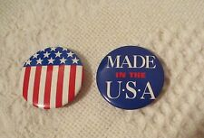 """July 4th Button Pins Brooch - set of 2 - 1-1/4"""" Made in Usa & Flag Patriotic"""