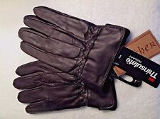 "NEW Men's GENUINE Soft Leather Gloves LARGE  ""COCOA"" BROWN Lined 3M Thinsulate"