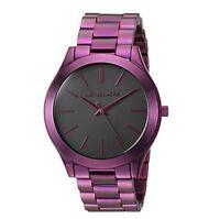 New Michael Kors MK3551 Plum Tone Slim Runway Black Dial Ladies Wrist Watch