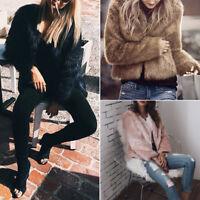 NEW Womens Faux Fur Ladies Short Coat Parka Thicken Warm Winter JACKET Outwear