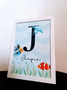 Personalised Nursery Decoration/ Name Print Framed In A White Frame