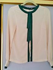 Dotti beige / green Bow Long Sleeve Sheer Blouse Size 8