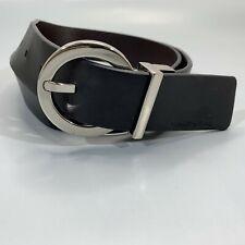 CALVIN KLEIN Belt Womens Medium Reversible Leather Black Brown Round Buckle Work