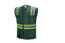 Green Two Tones Safety Vest With Multi Pocket Tool