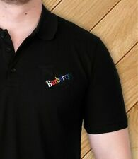 BURBERRY T Shirt Polo Brand New Men Black Embroidered Logos Size L Genuine