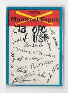 1973 O-Pee-Chee Blue Team Checklist - MONTREAL EXPOS Team Set
