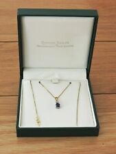 Ernest Jones 9 Carat Gold Necklace with Sapphire Pendant Chain Length 17 Inches