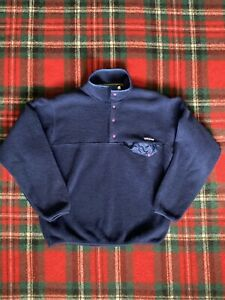 Vintage Men's PATAGONIA Fleece Quarter-Button Pullover! NAVY- Size Small