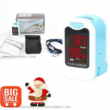 LED Blood Oxygen Finger Pulse Oximeter Oxymeter SPO2 Heart Rate Monitor+Pouch