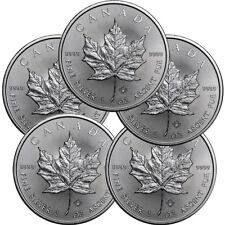 Lot of 5 - 2017 1 oz Canadian .9999 Silver Maple Leaf $5 Coins SKU# 399399