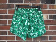 New Junior Large Girls Soffe Shorts Green White Soccer Ball 100% Cotton Athletic