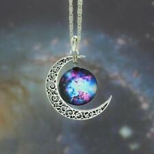 Galactic Universe Magic Lilac Crescent Moon Necklace Nebula Star Wicca Pendant