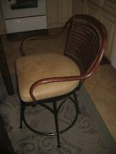 Vintage Mathis Brothers Furniture Bar Stool Arm Chair With Frame Covered Leather