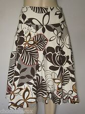 H&M ~ Brown & Natural Bold Floral Print Swirly Linen Skirt ~ Size 38 10 - 12