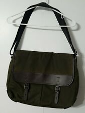 Fossil Waxed Canvas Messenger Crossbody Shoulder Bag Leather Trim Green/Brown