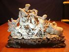 RARE Antique Chinese Master Carved Soapstone Group SIGNED