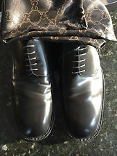 Mens Gucci Black Leather Lace Ups Shoes 12D US13- Worn once in Great shape!