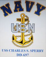 USS CHARLES S. SPERRY  DD-697* DESTROYER U.S NAVY W/ ANCHOR* SHIRT