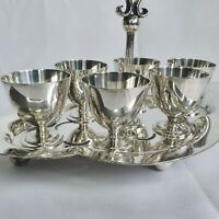 Vintage James Dixon & Son Silver Plated Egg Cups Cruets on Stand Art Deco :A7
