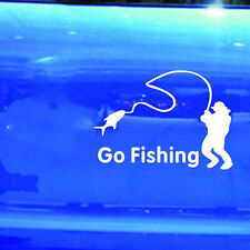 Car Stickers White Go Fishing Sticker Reflective Tape Waterproof Car Decals FF