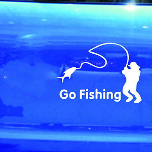 Car Stickers White Go Fishing Sticker Reflective Tape Waterproof Car Decals QW
