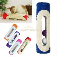 Pet Cat Kitten Toy Rolling Sisal Scratching Post 3 Trapped Ball Training Toys 5H