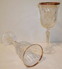 Pair of two Wedgwood Vintage Lead Crystal Gold Rimmed Wine Glasses,  Yugoslavia