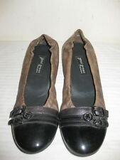 Paul Green Leather Black / Olive Flat Shoes Design Size 6.5, US Size 8.5