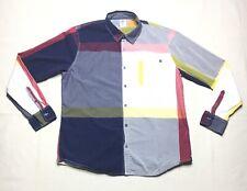 Vintage Sir Benni Miles NYC Multi Color Mens XL Button Up Long Sleeve Shirt