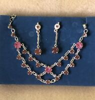 AVON Necklace Earrings Set-Sparkling Silver Chain Light & Dark Pink Crystals NEW
