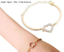 Cute Lady Love Heart Hand Chain Link Gold Bracelet Bangle Fashion for Girls