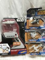 Star Wars Hot Wheels Starship Lot Flight Controller Slave I Snowspeeder Y-Wing