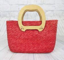 90e112ce4474 Vintage Red Wood Handle PURSE Handbag Bag Woven Straw Pockets Zipper
