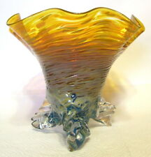 Studio Art Glass Vase Hand Blown Tri-footed Amber and Blue Hues Swirled 7 Inch