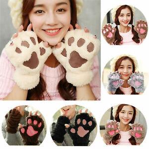 Womens Girls Cat Claw Paw Print Plush Short Fingerless Gloves Sleeves Mittens