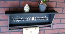 Wall Shelf Welcome Friends Rustic Star Distressed Black Towel Bar Quilt Rack