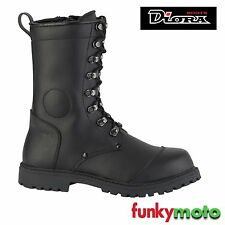 DIORA WATERPROOF MOTORCYCLE BOOTS COMBAT GOTH LACES UP MOTORBIKE HEAVY DUTY