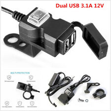 12V Waterproof Motorbike Motorcycle Dual-USB Charger Power Socket Adapter Outlet