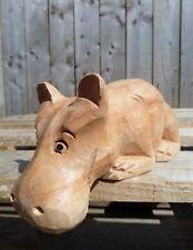 More details for fair trade hand carved made wooden garden shelf hippo hippopotamus ornament