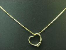 8kt 333 Gold Halskette & Herz Form Anhänger mit Diamant Besatz / 3,6g