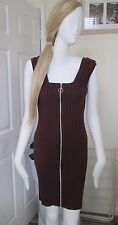 Missguided Zip up Burgany Ribbed Knitted Dress Size 12 Bodycon 95 Viscose 5 E